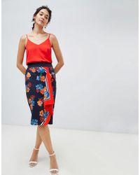 Oasis - Midi Pencil Skirt In Scarf Print - Lyst