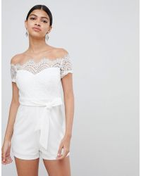 Love Triangle - Lace Top Bardot Playsuit With Tie Waist - Lyst