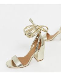 503c4b3a0a64 ASOS - Wide Fit Howling Tie Leg Block Heeled Sandals - Lyst