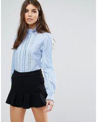 Liquorish - Lace Trim Shirt - Lyst