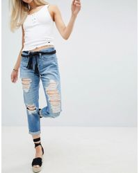 Hollister - Destroyed Boyfriend Jean - Lyst