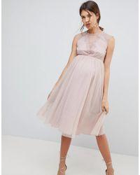 ASOS - Lace Tulle Cap Sleeve Midi Dress - Lyst