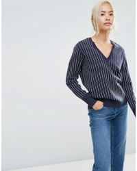 SELECTED - Striped V-neck Sweater - Lyst
