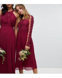 TFNC London - Lace Detail Bridesmaid Midi Dress In Burgundy - Lyst