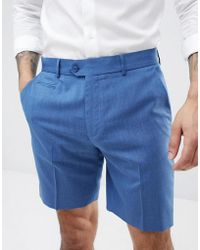 ASOS - Slim Mid Length Smart Shorts In Pale Blue - Lyst