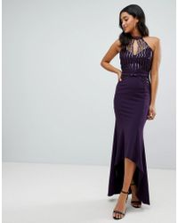 Lipsy - Scallop Front Sequin Maxi Dress With Asymmetric Hem In Purple - Lyst