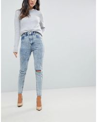 ASOS - Super High Rise Firm Skinny Jeans In Acid Wash Blue With Ripped Knees - Lyst