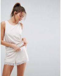 ASOS   Oatmeal Marl Eyelash Lace Trim Vest & Short Pyjama Set   Lyst