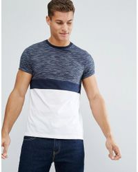 ASOS - T-shirt With Roll Sleeve In Inject Colour Block In Navy - Lyst