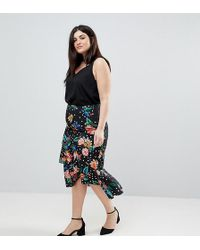 ASOS - Midi Skirt With Ruffle Detail In Floral Spot Print - Lyst