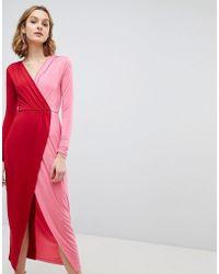 ASOS DESIGN - Asos Colour Block Wrap Maxi Dress - Lyst