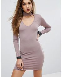 Motel - Bodycon Dress With Choker Detail - Lyst