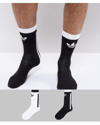 adidas Originals - Adicolor 2 Pack Crew Socks In White Ce5710 - Lyst