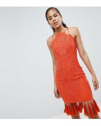 Chi Chi London - Lace Detail Pencil Midi Dress With V Back - Lyst