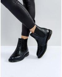 Dr. Martens - Kensington Flora Black Croco Chelsea Boots - Lyst