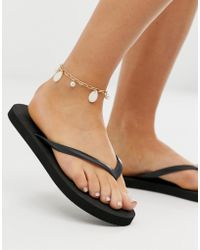 ASOS - Anklet With Faux Shell And Freshwater Pearls In Gold Tone - Lyst