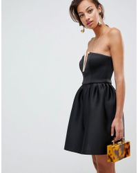 ASOS - Bandeau Mini Prom Dress With Gold Bar Detail - Lyst