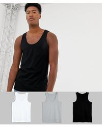 ASOS - Tall Organic Vest 3 Pack Save - Lyst
