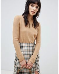 Warehouse - Cosy Crew Neck Jumper In Camel - Lyst