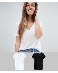 ASOS - Asos Design Petite V-neck Swing T-shirt 2 Pack Save - Lyst