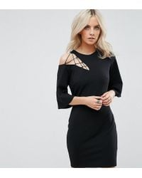 ASOS - Fluted Sleeve Shift Dress With Ladder Detail - Lyst