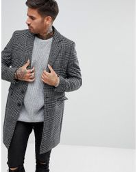 River Island - Smart Overcoat In Gray Check - Lyst