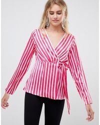 Pieces - Disha Stripe Wrap Blouse - Lyst