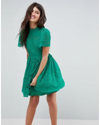 ASOS - Asos Lace Puff Sleeve Mini Dress - Lyst