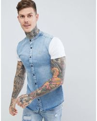 SIKSILK - Shirt In Washed Denim With Jersey Sleeves - Lyst