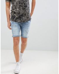 Blend - Skinny Denim Shorts With Distressing - Lyst