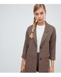 Monki - Longline Blazer In Brown Check Print - Lyst