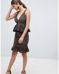 Missguided - Lace Peplum Midi Dress - Lyst