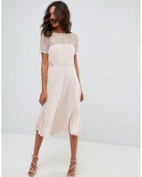 ASOS - Lace Insert Panelled Midi Dress - Lyst