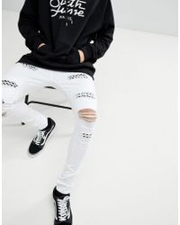 Sixth June - Super Skinny Jeans In White With Distressing - Lyst