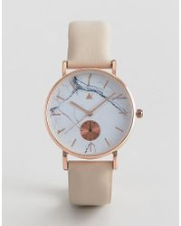 ASOS - Watch With Leather Strap And Marble Print Face - Lyst