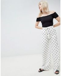 Pull&Bear - Polka Dot Tie Waist Trousers In White - Lyst