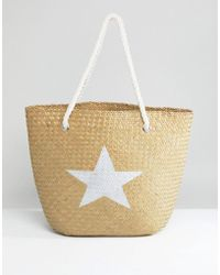 South Beach - Natural Straw Beach Bag With Silver Star - Lyst