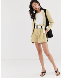 River Island - Tailored Shorts With Belt In Colourblock - Lyst