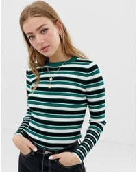 ONLY - Multi Stripe Ribbed Top - Lyst