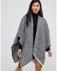 French Connection - Two Tone Knit Poncho - Lyst
