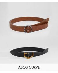ASOS - Asos Design Curve 2 Pack Hexagon And Circle Buckle Waist And Hip Belts - Lyst