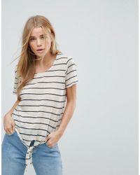 Vero Moda - Stripe Tie Front T-shirt - Lyst