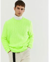 ASOS - Oversized Cable Knit Jumper In Neon Green - Lyst