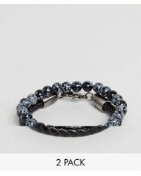 Simon Carter - Snowflake Obsidian Beaded Bracelet & Black Leather Bracelet In 2 Pack - Lyst