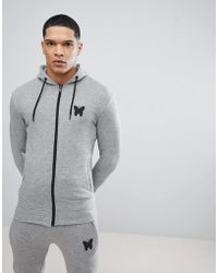 Good For Nothing - Muscle Hoodie In Grey With Logo - Lyst