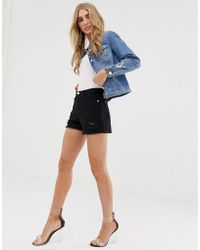 Lipsy Ripped Shorts In Black