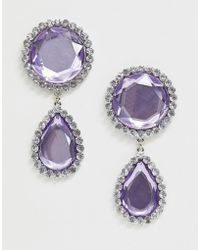 ASOS - Earrings With Faceted Jewel Drop And Crystal Edge In Silver Tone - Lyst