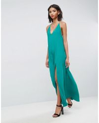 ASOS - Deep Plunge V Back Strappy Maxi Dress - Lyst