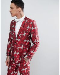 ASOS - Skinny Suit Jacket In Red Floral Jacquard - Lyst