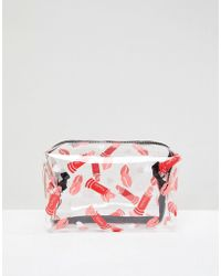 Yoki Fashion - Cosmetic Bag With Red Lip Print - Lyst